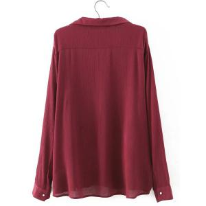 Chic Turn-Down Collar Long Sleeve Lace-Up Big Pocket Blouse For Women -