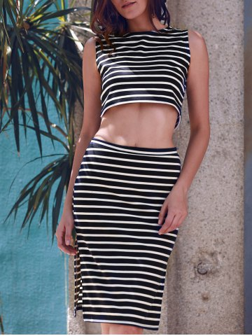 Best Sleeveless Stripe Crop Two Piece Club Dress STRIPE S