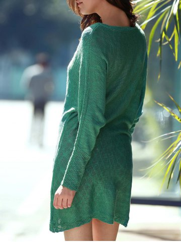 Store Scoop Neck Long Sleeve Slouchy Jumper Dress - ONE SIZE(FIT SIZE XS TO M) GREEN Mobile