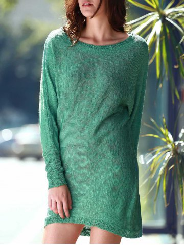 Fancy Scoop Neck Long Sleeve Slouchy Jumper Dress - ONE SIZE(FIT SIZE XS TO M) GREEN Mobile