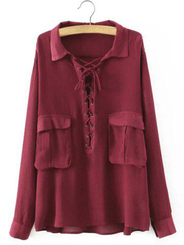 Affordable Chic Turn-Down Collar Long Sleeve Lace-Up Big Pocket Blouse For Women