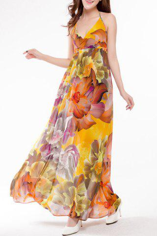 Buy Sweet Halter Colorful Floral Printed High Waist Maxi Dress For Women