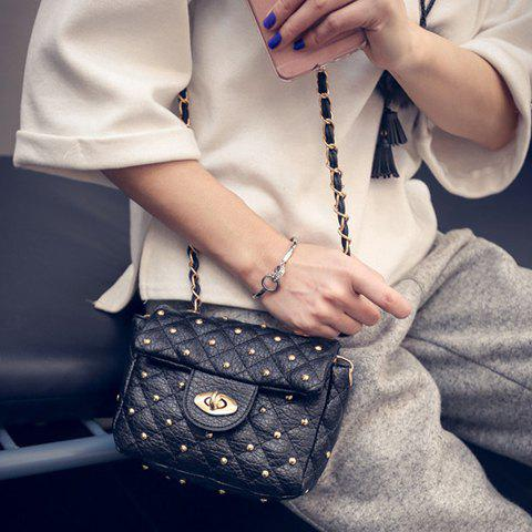 Hot Trendy Rivets and PU Leather Design Crossbody Bag For Women -   Mobile
