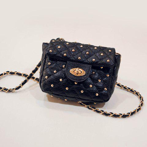 Fashion Trendy Rivets and PU Leather Design Crossbody Bag For Women -   Mobile