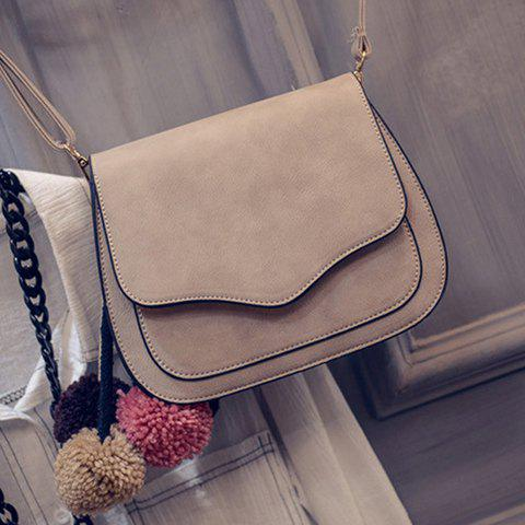 Online Simple Cover and PU Leather Design Crossbody Bag For Women - GRAY  Mobile