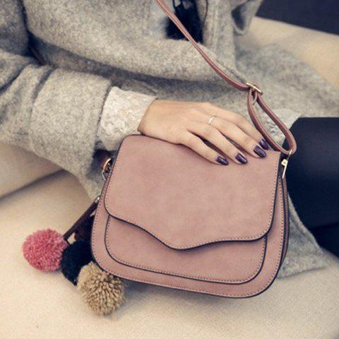 Sale Simple Cover and PU Leather Design Crossbody Bag For Women - GRAY  Mobile