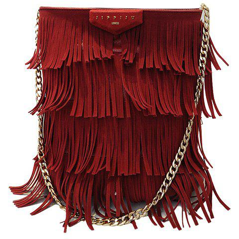 Sale Stylish Fringe and PU Leather Design Shoulder Bag For Women