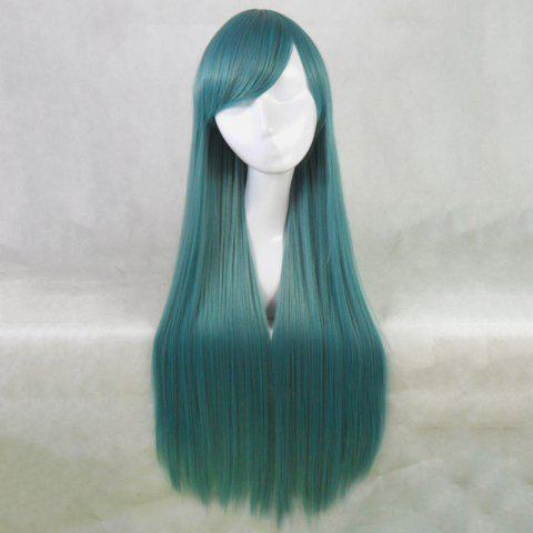Buy Attractive Long Side Bang Synthetic Silky Straight Blackish Green Cosplay Wig For Women - BLACKISH GREEN  Mobile