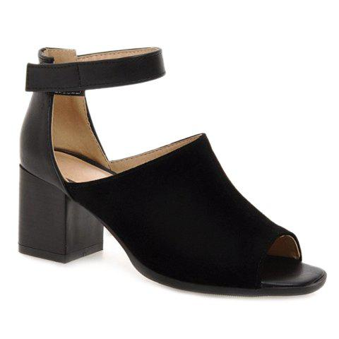 New Fashion Chunky Heel and Peep Toe Design Sandals For Women BLACK 38