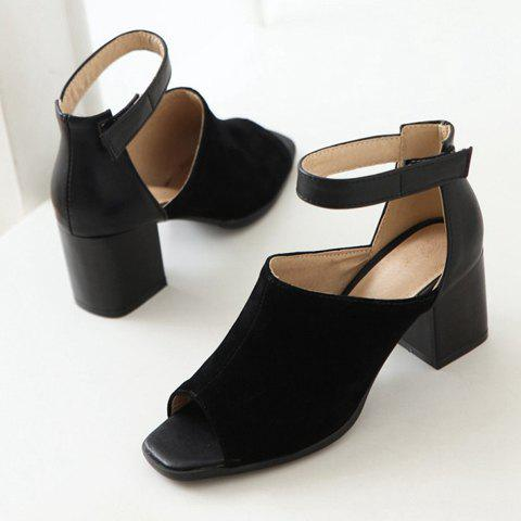 Sale Fashion Chunky Heel and Peep Toe Design Sandals For Women - 37 BLACK Mobile