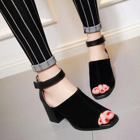 Buy Fashion Chunky Heel and Peep Toe Design Sandals For Women - 37 BLACK Mobile