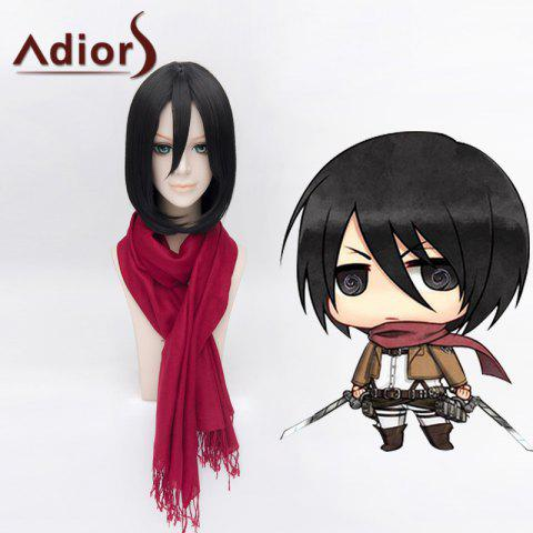 Chic Ladylike Lolita Mikasa Ackerman Medium Bob Style Straight Cosplay Wig For Women - BLACK  Mobile