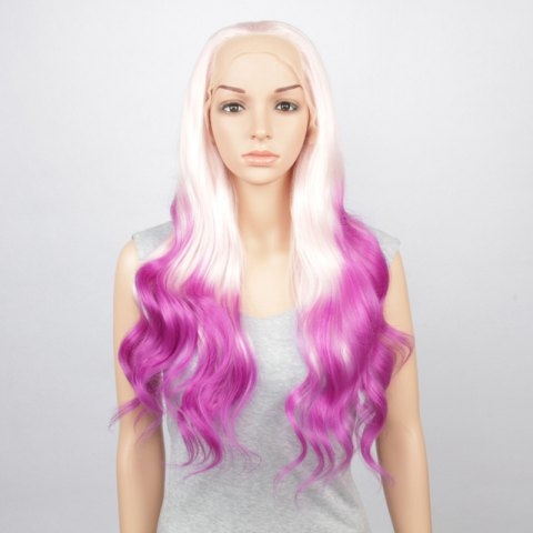 Fashion White Purple Gradient Long Fluffy Wavy Synthetic Lace Front Wig For Women - OMBRE