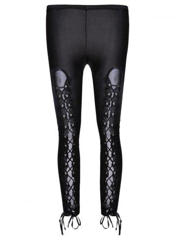 Buy online Lace Up Hollow Out Faux Leather Black Bodycon Leggings