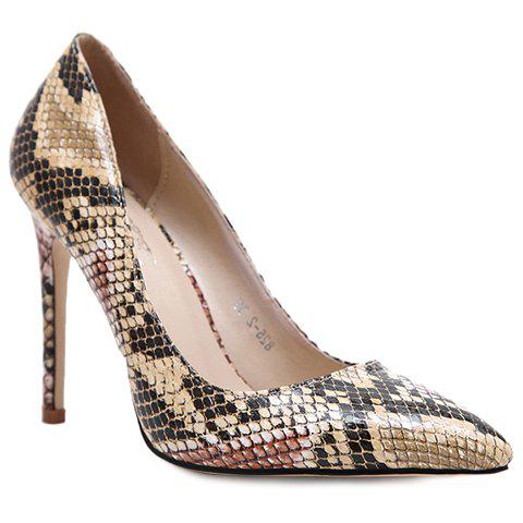 Discount Stylish Snake Print and Slip-On Design Pumps For Women