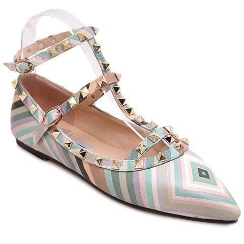 Store Sweet Rivets and Color Block Design Flat Shoes For Women