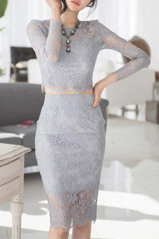 Latest Sexy Round Neck Light Gray Long Sleeve Crop Top and Skirt Twinset For Women