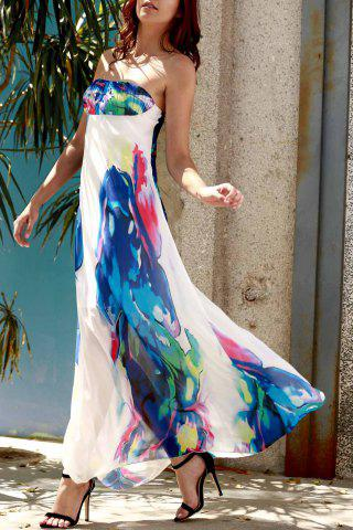 Strapless Swing Ankle Length Floral Maxi Dress - Purplish Blue - M