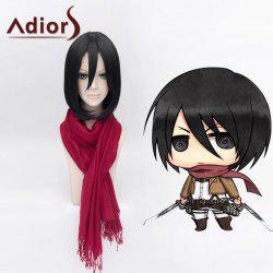 Ladylike Lolita Mikasa Ackerman Medium Bob Style Straight Cosplay Wig For Women - BLACK