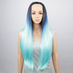 Trendy Three Colors Gradient Natural Straight Long Synthetic Lace Front Wig For Women - COLORMIX