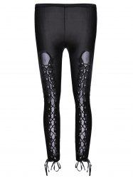Sexy Black Lace-Up Hollow Out Faux Leather Bodycon Leggings For Women