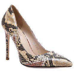 Stylish Snake Print and Slip-On Design Pumps For Women - KHAKI