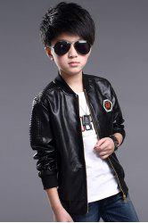 Casual Long Sleeve Embroidered Boy's Faux Leather Jacket -