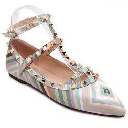 Sweet Rivets and Color Block Design Flat Shoes For Women -
