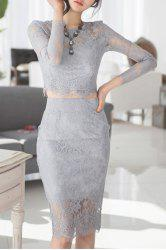 Sexy Round Neck Light Gray Long Sleeve Crop Top and Skirt Twinset For Women -