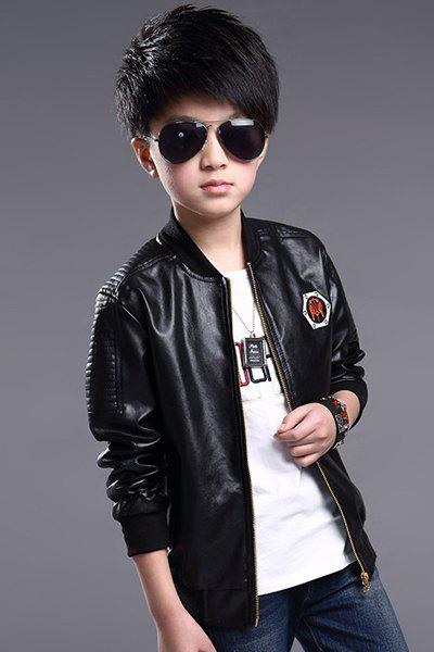 Buy Casual Long Sleeve Embroidered Boy's Faux Leather Jacket