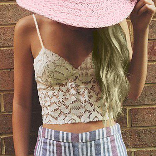 a7f16cb32b7 39% OFF  Stylish Spaghetti Strap Hollow Out Lace Tank Top For Women ...