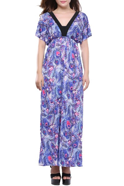 Bohemian Style V Neck Batwing Sleeve Printed Plus Size High Waist Dress For  Women