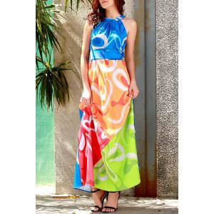 Sleeveless Colorful Maxi Dress - COLORMIX S