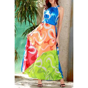 Maxi robe multicolore sans manches -