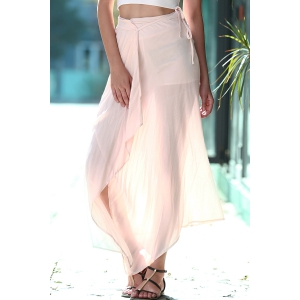 Stylish Solid Color Lace Up Women's Pantskirt - Nude - L