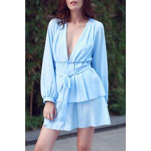 Ruffle Long Sleeve Plunge Dress