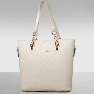 Elegant Checked and PU Leather Design Shoulder Bag For Women - OFF-WHITE