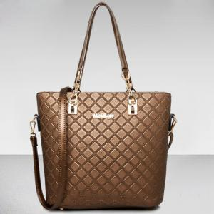Elegant Checked and PU Leather Design Shoulder Bag For Women -