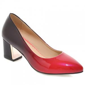 Fashion PU Leather and Gradient Design Pumps For Women - Black - 34