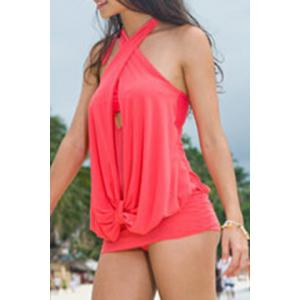 Sexy Halter Ruffled Swimsuit For Women