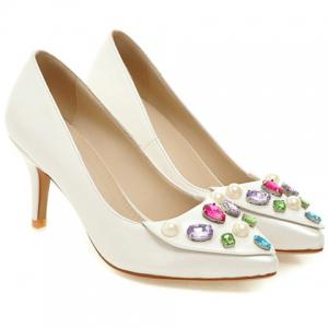 Pretty Rhinestones and PU Leather Design Pumps For Women -