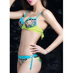 Fashionable Colorful Printed Moulded Bikini For Women -