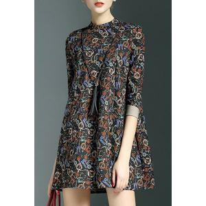 Country Style Stand-Up Collar 3/4 Sleeve Printed Colorful Mini Dress For Women -