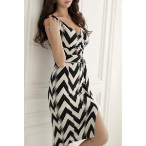 Sexy Sleeveless Plunging Neck Zig Zag Women's Dress -