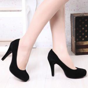 Fashion Round Toe and Solid Color Design Women's Pumps -