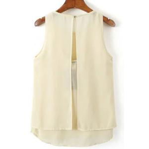 Sweet Round Neck Open Back Tank Top For Women - OFF-WHITE S