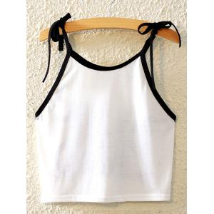 Stylish Spaghetti Strap Printed Lace-Up Tank Top For Women -
