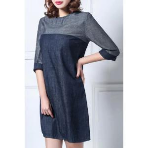 Casual Round Collar Color Block 3/4 Sleeve Dress For Women -