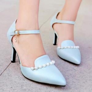 Sweet Beading and PU Leather Design Pumps For Women -