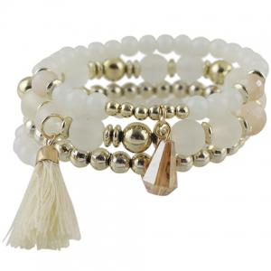 Multilayered Faux Crystal Beads Tassel Bracelet - WHITE